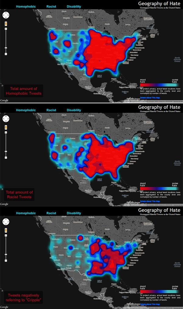 Mapa do discurso de ódio nos EUA