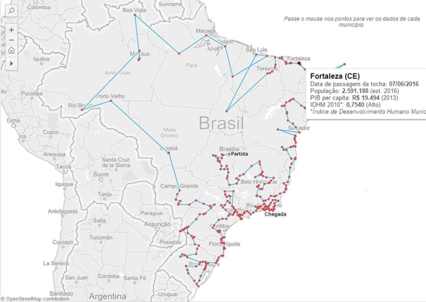O trajeto da tocha olímpica no Brasil